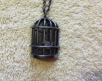 Handmade Birdcage With Bird Necklace