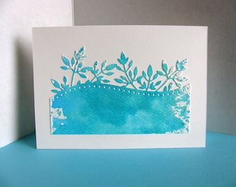 5X7 Turquoise, Teal Watercoloured Foliage Edging on Creamy Ivory Card with Kraft Envelope / Deep Aqua / Ready to Ship