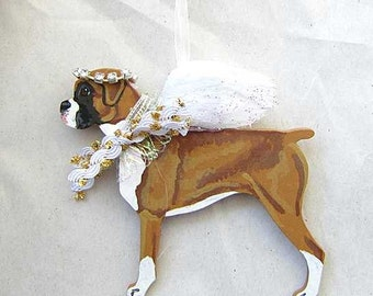 Hand-Painted BOXER NATURAL EARS Feathered Wing Angel Wood Ornament