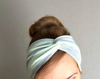 Silver gray twist headband Jersey turban turband striped shiny head wrap everyday ear warmer gift for her stirnband pastel green