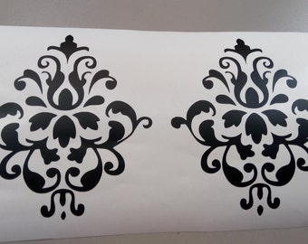 "Set of 2  ( 6""- 11"") Damask Pattern wall decal, damask wall decals, Nursery wall decal, Wall decal, damask wall decals"