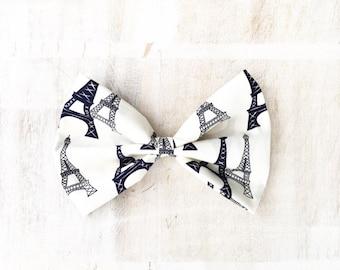 Pretty Ivory with Eiffel Tower print hair bow Kawaii pin up