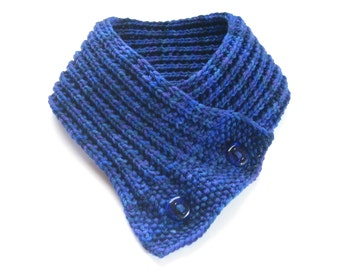 Hand Knit Button Cowl, Merino Wool Blue Scarf, Accessories, Blue Knit Collar, Winter Accessories, Winter Cowl, Gift For Her, Knit Fashions