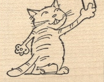 Cat Selfie Rubber Stamp J28807 Wood Mounted