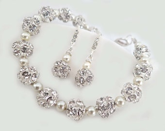 Wedding Jewelry Sets for Brides, Bridal Jewelry Set, Bride Jewelry Sets, Bridal Bracelet, Wedding Earrings, Crystal Dangle Earrings, MIA