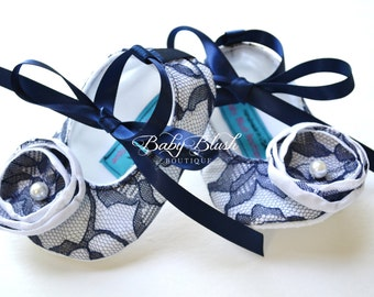 Navy Blue Lace on White Vintage Baby Shoes Ballerina Slippers