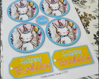 Bunny Birthday tags PDF - easy acrylic painting blue pink scrapbooking string