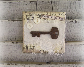 Original Collage Vintage Collage Altered Mixed Media Vintage Skeleton Key Mini Collage Vintage Mixed Media Altered Art Vintage Steampunk