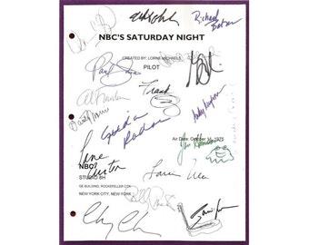Saturday Night Live Pilot Episode TV Script Autographs: John Belushi, Chevy Chase, Dan Aykroyd, Jane Curtin, Garrett Morris, Gilda Radner
