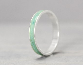 Turquoise Ring, Sterling Silver Ring, Thin Silver Ring, Inlay Ring, Turquoise Jewelry, Silver Band, Metaphysical Ring, Meditation Jewelry