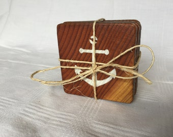 Set of four anchor coasters made from reclaimed wood