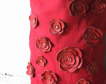 Red Tote Bag Purse Handbag . Studded Floral Applique