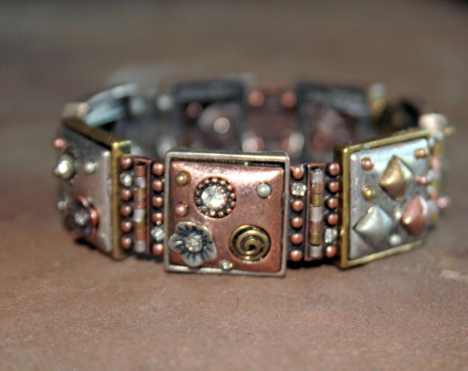 Mixed Metal and Crystal Stretch Cuff