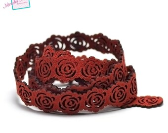 """1 m cord strap 19 x 2 mm blood red """"pink"""" perforated suede"""