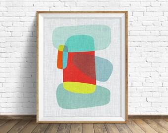 "mid century modern art, mid century modern wall art, large art, printable art, instant download, large wall art, abstract art - ""Pods No. 9"""