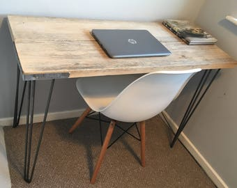 Scaffolding board desk finished with industrial style hairpin legs