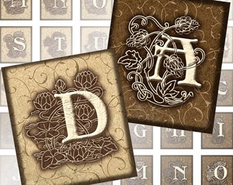 Vintage Ornate brown and beige Alphabet Letters 0.75 x 0.83 inches digital collage sheet  (195) Buy 3 - get 1 bonus