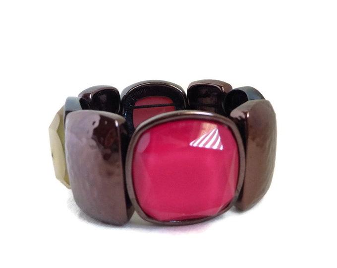 Vintage Glass Bracelet, Glass & Metallic Bracelet, Wide Stretch Bracelet, Multi Color Bead Bracelet