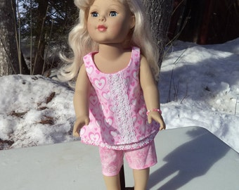 "18"" pink 2 piece doll shorts outfit, pink cruise doll shorts outfit, sleeveless pink doll top, matching bracelet"
