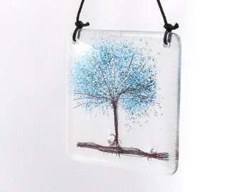 Fused Glass Blue Bubble Tree, Hanging, Kiln Fired Hanger, Tree of life