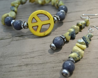 YELLOW PEACE SIGN Bracelet Matching Earrings Grey Jade Yellow Turquoise Chips Stretch Bracelet Set