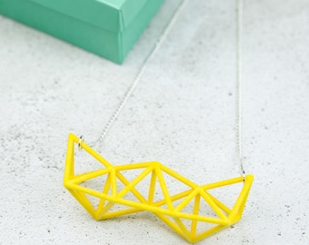 Yellow Geometric Statement Necklace, 3D Printed Necklace, Geometric Necklace, Tetrahedron Necklace