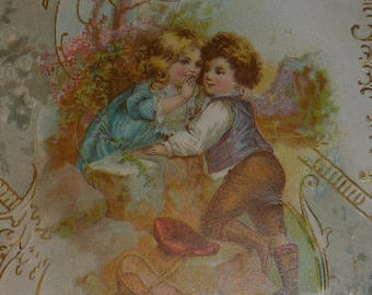1900s Victorian Valentine Card Love's Greeting Sweet Boy and Girl
