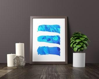 Blue Watercolor Brush Strokes Wall Art, Printable Digital Download