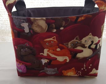 Fabric Organizer Storage Basket Bin Container - Movie Theater Cats Maroon