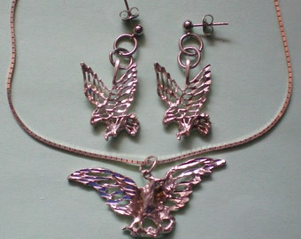 Sterling Silver Eagle Pendant Necklace with Pierced Earrings - 3365