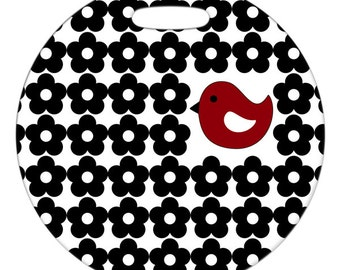 Personalized Luggage Tag / Carry On Bag Tag / Round FRP Plastic Tag / Little Red Birdie with Black Flowers / 2 Sizes Available