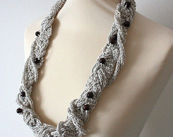 Knitting Pattern (PDF file) Necklace Three Cords Braiding Accessory