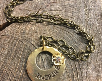 hand stamped brass necklace INSPIRE