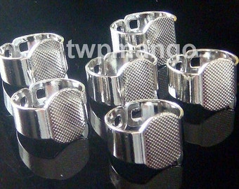 10 Shiny Silver Plated Adjustable Ring Blanks Glue On Pad 15mm T3
