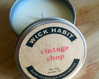 Vintage Shop Soy Candle // Dried Flowers and Aged Fabric