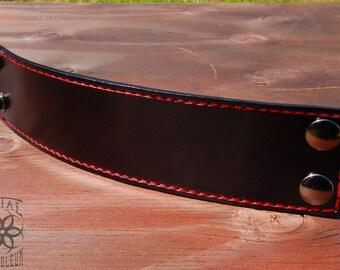 """2"""" Black n' Red Stitched Cuff"""