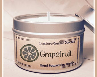 GRAPEFRUIT scented Soy Candle Tin, Scented Soy Candles, Hand Poured Soy Candles, Soy Candles Handmade, Travel Tin