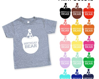 Birthday Bear Kids / Toddler Heather Grey Triblend TShirt - First, Second, Third, Fourth, Fifth Birthday, Party Outfit, Celebrate