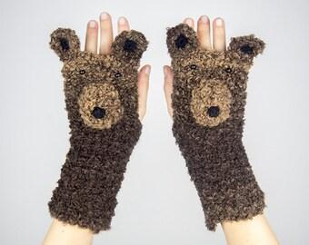 Bear Fingerless Gloves ~ Handmade