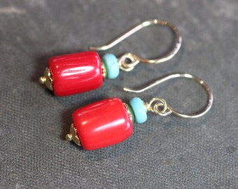 Red Coral Earrings Red and Turquoise Gemstone Earrings Rustic Jewelry
