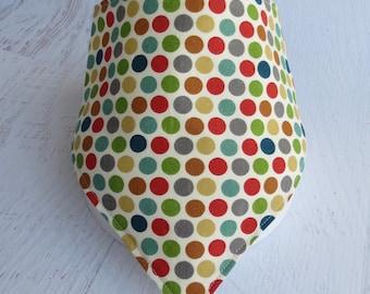 Polka Dot Bandana Bib, Organic Dribble Bib, Colorful Scarf Bib, Polka Dot Baby Gift, Gender Neutral Bandana Bib with Snap, Cool Bandana Bib