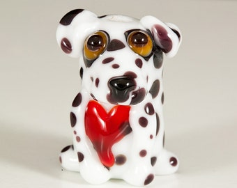 Dalmatian with Heart Lampwork Dog Bead