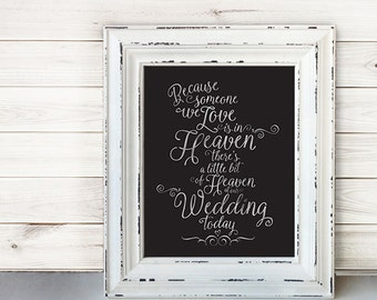 Wedding Sign Signage Instant Printable //  Because someone we love is in heaven today... //  Remembrance sign //  WHITE ON BLACK //  11x14