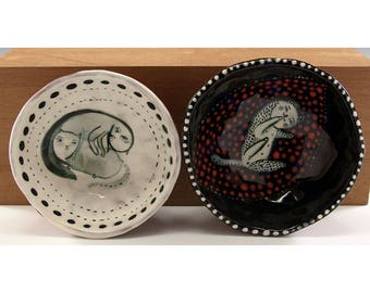 Kitty Cats in Bowls - Ceramic Bowl Set - Original Painting by Jenny Mendes in two Hand Pinched Ceramic Finger Bowls