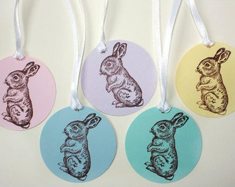 5 Pastel Bunny Tags, Easter Bunny Gift Tags, Baby Shower Tags, Bunny Tags, Bunny Birthday Party, Favor Tags, Spring Party, bunny rabbit