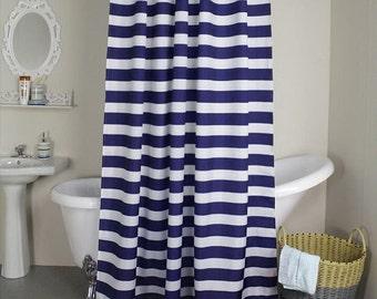 "Navy blue and white horizontal stripe Fabric shower curtain, cotton print, 72"", 84"", 90"", 96"", 108"" custom made"