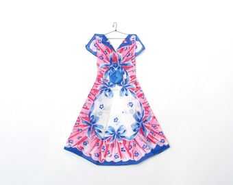Hanky Dress with Geometric Pink Ruffles and Blue Bows
