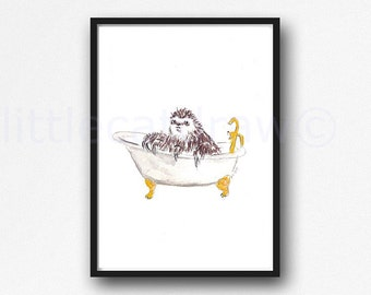 Sloth Print Bath Time Sloth in a Claw Foot Tub Watercolor Painting Art Print Watercolor Print Wall Art Bathtub Bath Tub Wall Decor
