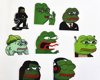 8 Piece Pepe the Frog Stickers, Pepe the Frog Decals, Meme Stickers