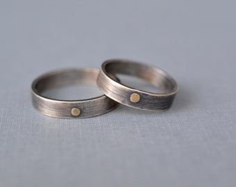 Gold Rivet Oxidized Silver Ring- unique mens ring, minimalist ring, matching wedding rings, silver wedding band, mens wedding band